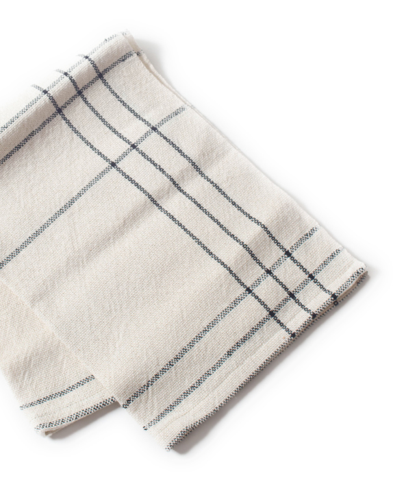 Handwoven Towel with Black and White Stripes